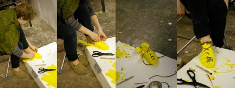 Cutting a template from yellow craft foam. Photo: Elizabeth Pratt.