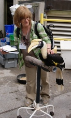 Kathryn with hornbill. Photo: Emily Damstra