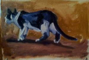October 29, 2012: Wedding cat. Painting by Jennifer Osbourne