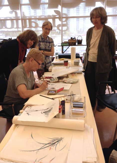 Chinese brush painting demo; Photo by Emily Damstra